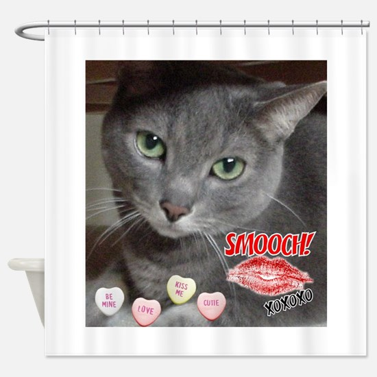 Valentine Russian Blue Gray Cat Shower Curtain