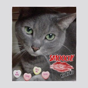 Valentine Russian Blue Gray Cat Throw Blanket