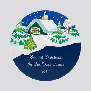 2017 1St Christmas Cottage Ornament (Round)