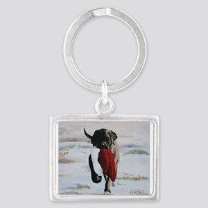 Brindle Puppy With Santa Hat Keychains