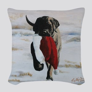Brindle Puppy With Santa Hat Woven Throw Pillow