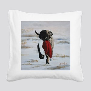 Brindle Puppy With Santa Hat Square Canvas Pillow