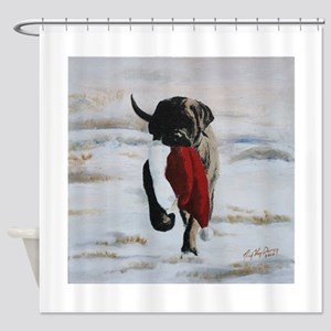 Brindle Puppy With Santa Hat Shower Curtain
