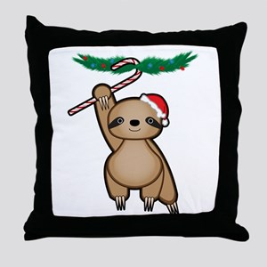 Holiday Sloth Throw Pillow