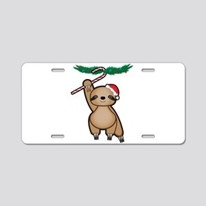 Holiday Sloth Aluminum License Plate