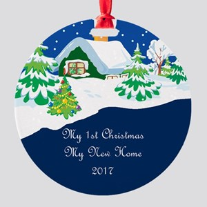 2017 My 1St Cottage Round Ornament