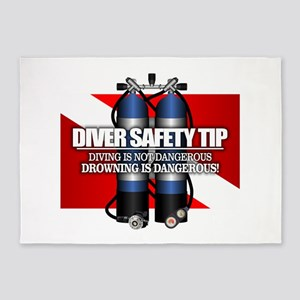 Diver Safety Tip 5'x7'Area Rug