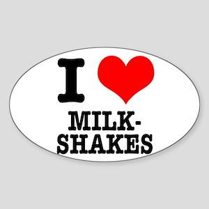 I Heart (Love) Milkshakes Oval Sticker