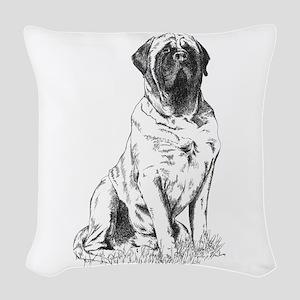Mastiff Sitting Woven Throw Pillow