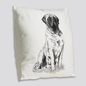 Mastiff Sitting Burlap Throw Pillow