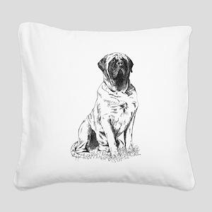 Mastiff Sitting Square Canvas Pillow
