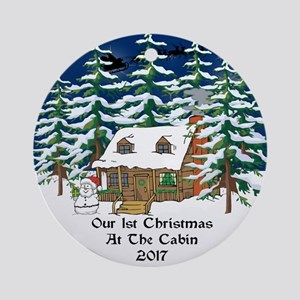2017 1St Cabin Christmas Ornament (Round)