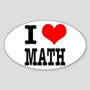 I Heart (Love) Math Oval Sticker