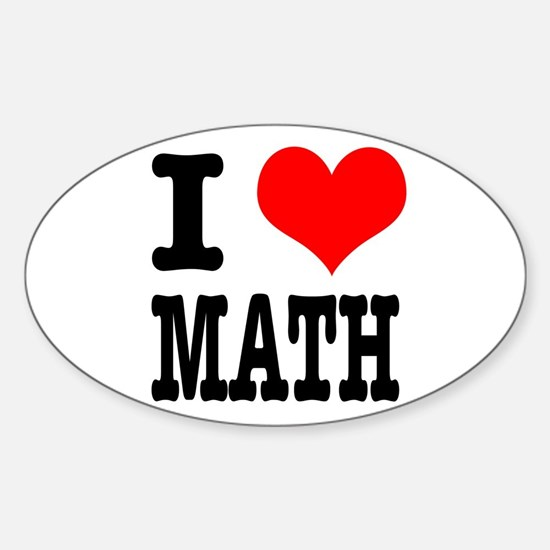 I Heart (Love) Math Oval Decal