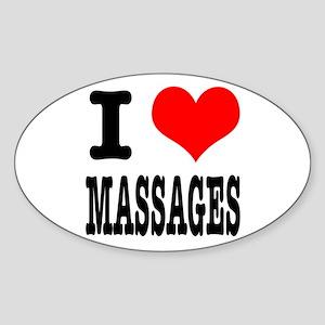 I Heart (Love) Massages Oval Sticker