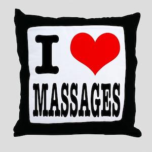 I Heart (Love) Massages Throw Pillow
