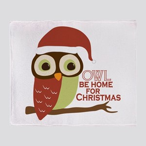Owl Be Home For Christmas Throw Blanket
