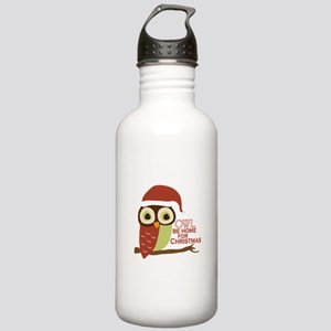 Owl Be Home For Christmas Stainless Water Bottle 1