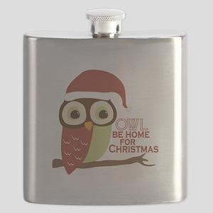 Owl Be Home For Christmas Flask