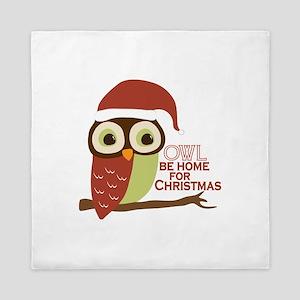 Owl Be Home For Christmas Queen Duvet
