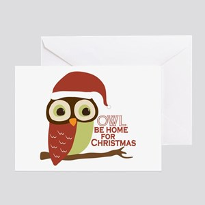 Christmas owl greeting cards cafepress owl be home for christmas greeting card m4hsunfo
