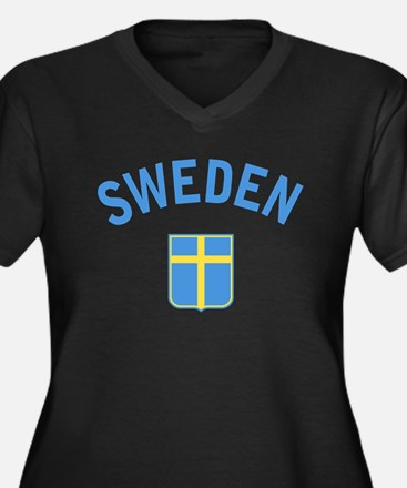 Sweden Women's Plus Size V-Neck Dark T-Shirt