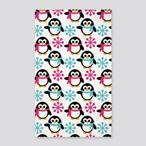 Penguins And Flakes 3'X5' Area Rug