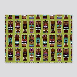Colorful Tiki Mask Pattern 5'x7'Area Rug