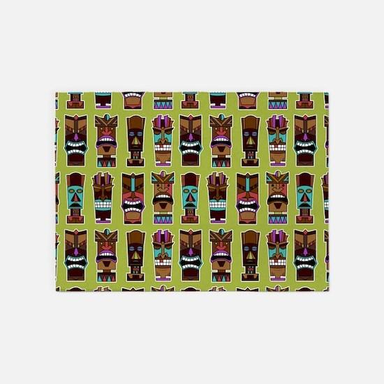 Colorful Tiki Mask Pattern 5'x7'Area Rug