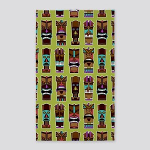 Colorful Tiki Mask Pattern 3'x5' Area Rug
