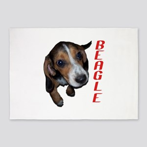 Beagle Puppy Sitting Down (Red) 5'x7'Area Rug