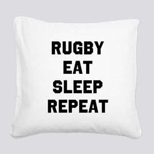 Rugby Eat Sleep Repeat Square Canvas Pillow