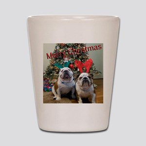 English Bulldog Christmas Shot Glass