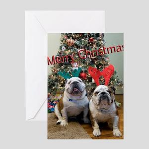 English Bulldog Christmas Greeting Card
