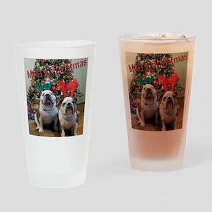 English Bulldog Christmas Drinking Glass
