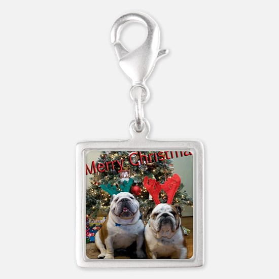 English Bulldog Christmas Silver Square Charm