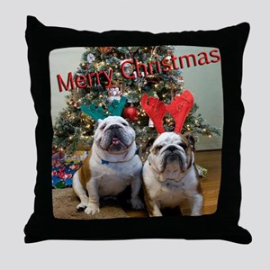 English Bulldog Christmas Throw Pillow