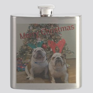 English Bulldog Christmas Flask