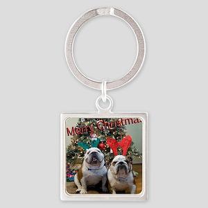 English Bulldog Christmas Square Keychain