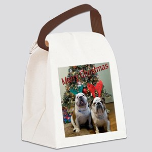 English Bulldog Christmas Canvas Lunch Bag
