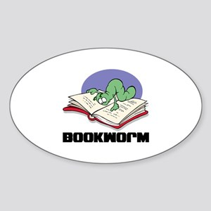 Bookworm Book Lovers Oval Sticker