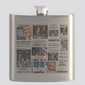 Pro Obama Victory Collage Flask