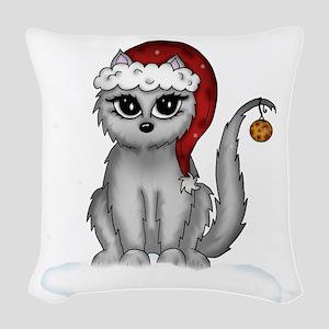 christmas cat Woven Throw Pillow