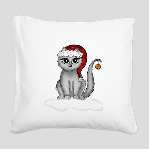 christmas cat Square Canvas Pillow