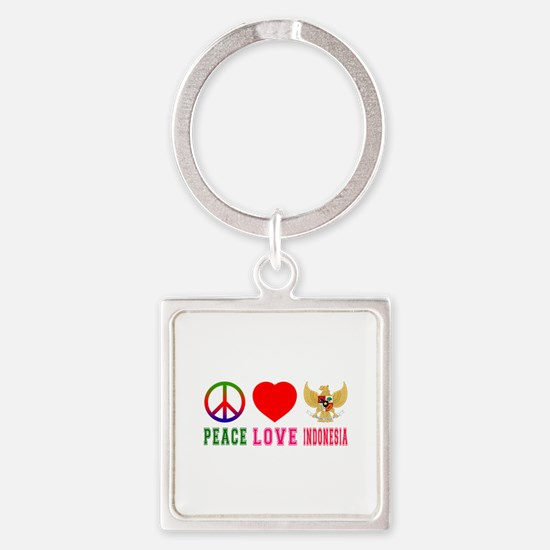 Peace Love Indonesia Square Keychain