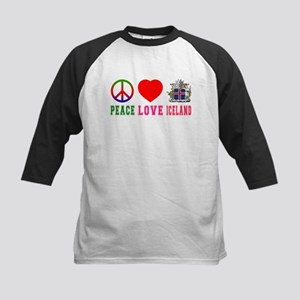 Peace Love Iceland Kids Baseball Jersey