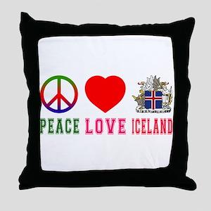 Peace Love Iceland Throw Pillow