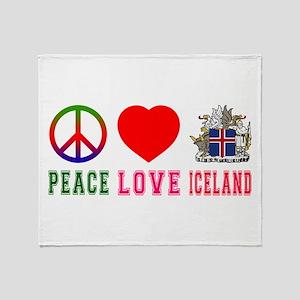 Peace Love Iceland Throw Blanket