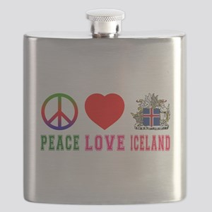 Peace Love Iceland Flask
