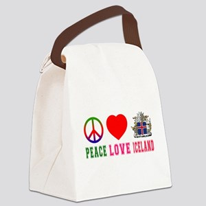 Peace Love Iceland Canvas Lunch Bag